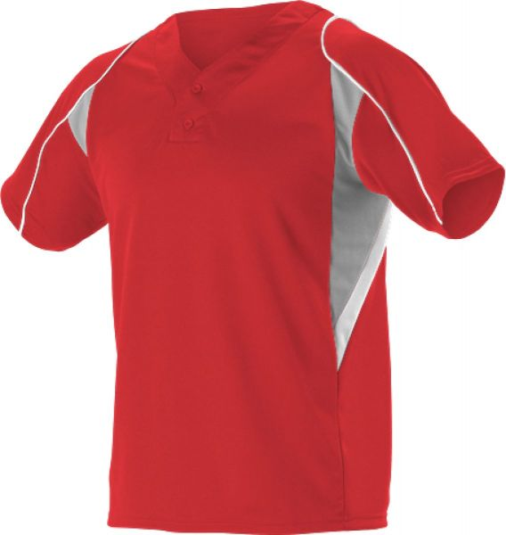 Alleson Youth 2 Button Short Sleeve Baseball Jersey