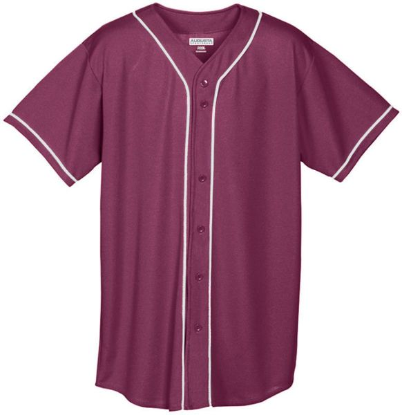 Augusta Youth Wicking Mesh Button Front Baseball Jersey