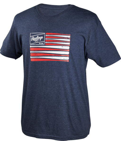 Rawlings Patch and Bat Flag Branded T-Shirt