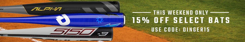15% Off Baseball Bats